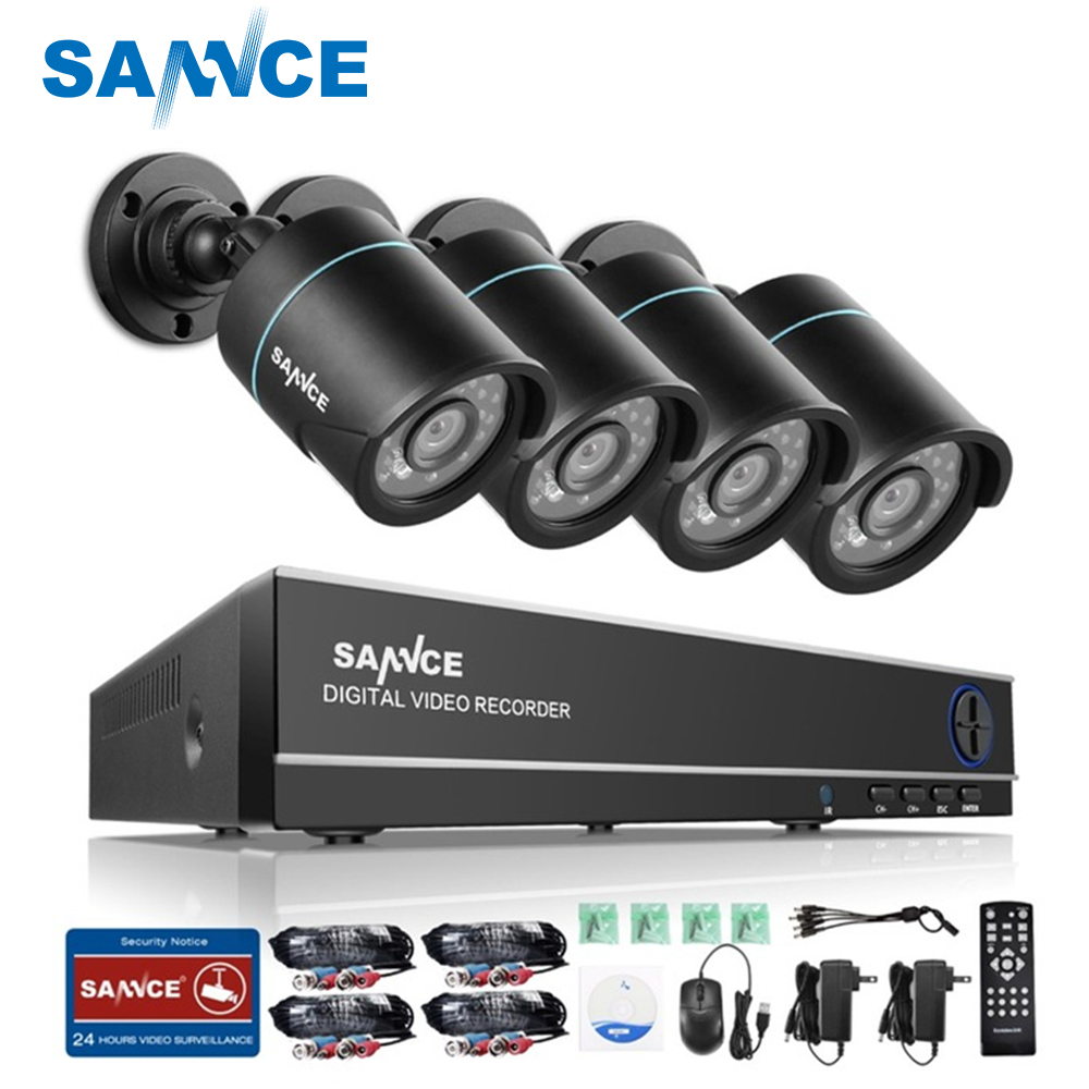 SANNCE 8CH HD 960H DVR 1080P NVR CCTV Home Security Camera System 4PCS  IR Outdoor 900TVL Video Surveillance kit