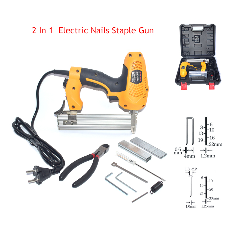 2 In 1 Framing Nailer Electric Stapler Nail Gun 220V Electric Power Tools F30/422J Nails Gun With Nails And Plastic Toolbox