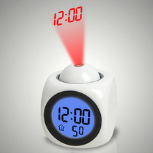 LED Alarm Clock Projector Lamp With Night Light Digital Time Voice Temperature Projection Lights  For Bedroom Home Decoration