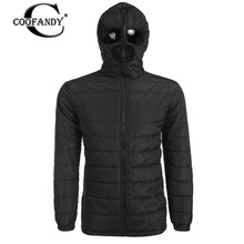 COOFANDY New Arrivals Men Winter Warm Zip Up Hooded Quilted Jacket Removable Goggles