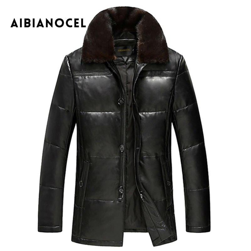 Aibianocel новые зимние мужские из натуральной кожи пальто овчины норки воротник натуральная кожа вниз пальто мужская кожаная куртка теплая зим...