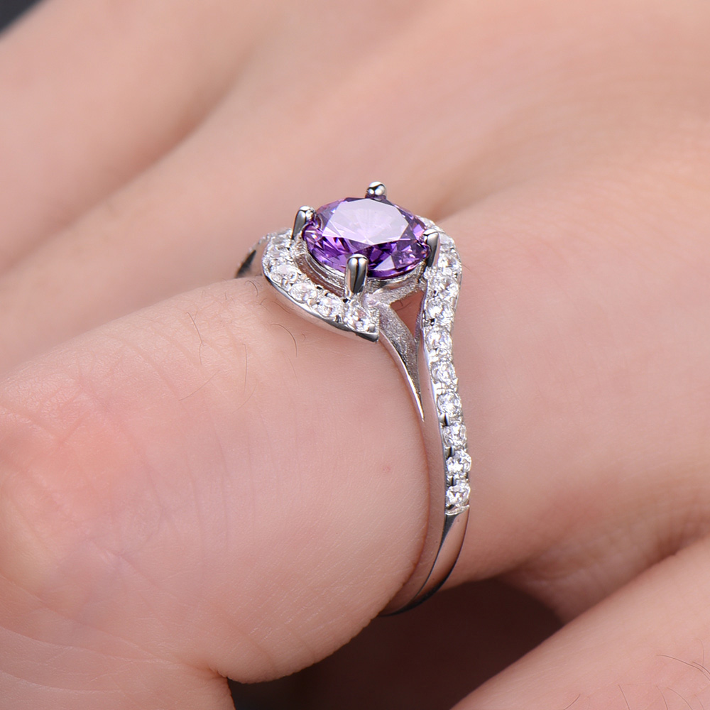 Amethyst Engagement Ring Solid 14k White Yellow Rose Gold Diamond ...