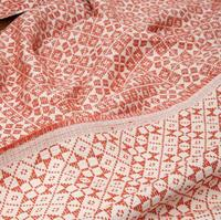 Coral orange home jacquard cotton blended fabric dresses coat printing textiles hollandais sequin design college fabric A379
