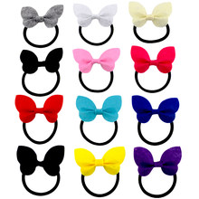 2018 Newest 2.7 Inch Cute Butterfly Hair Bow Non-Woven Fabric Bows Elastic Hair Bands Ponytail Hair Holder For Kids Girls(China)