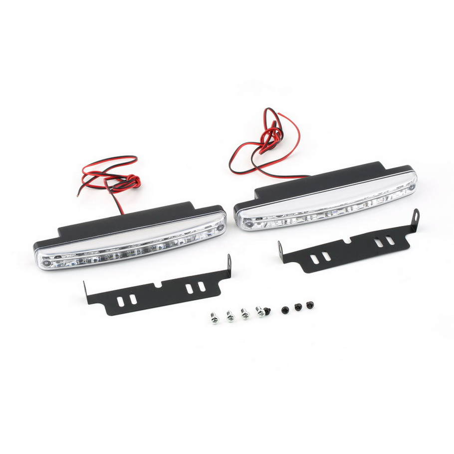 2Pcs Universal Car Daytime Running Lights 8 LED DRL Daylight Kit Super White 12V DC Head Lamp light hot selling 4in1 daytime running light 12v 12w led car emergency strobe lights drl wireless remote control kit car accessories universal