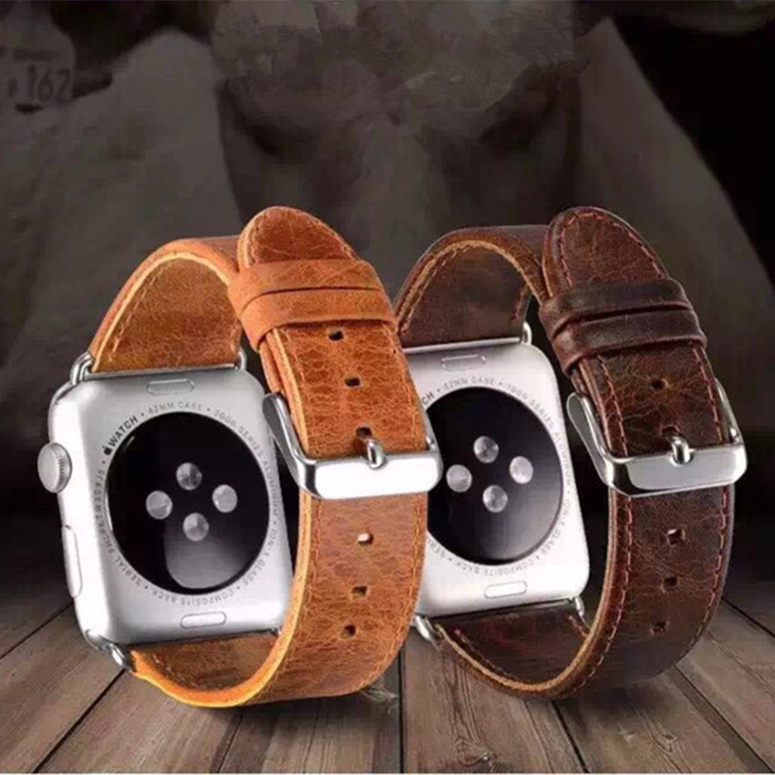 CRESTED genuine leather watchband for apple watch band 42mm 38mm crazy horse leather strap + classic metal clasp men watch band цена и фото