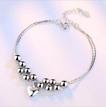 TJP New Fashion 925 Silver Bracelets For Women Wedding Party Anklets Cute Star Heart Design Girl Accessories