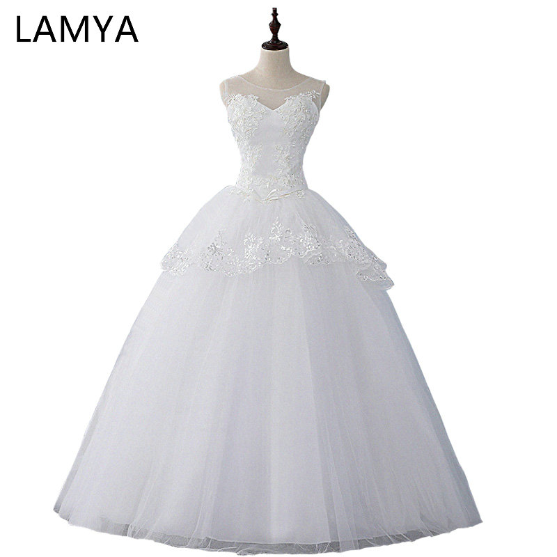 Cheap Plus Size Ball Gown Wedding Dresses: LAMYA 2019 Simple Lace Wedding Dress Cheap Customized