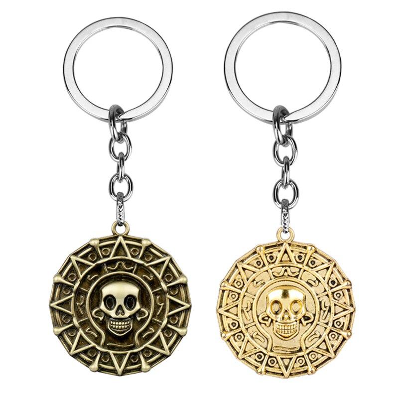 MQCHUN New Pirates Of The Caribbean Keychain Aztec Coin Skull Pendant Keyrings Gold Bronze Men Car Keyring Gifts -50