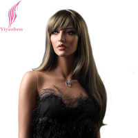 Yiyaobess 26inch Mix Blonde Ombre Wig Long Wavy Wigs For Women Synthetic Natural Hair With Bangs