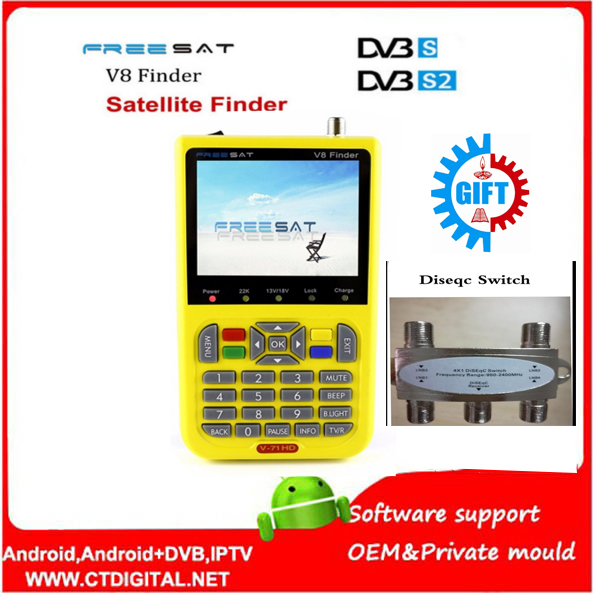 Free sat V8 Finder 2pcs DVB-S2 vs satlink 6906 Satellite Finder Support 1080P HD Free sat Finder V8 With 3.5 inch LCD Display satlink ws 6979se satellite finder meter 4 3 inch display screen dvb s s2 dvb t2 mpeg4 hd combo ws6979 with big black bag