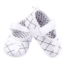 Anti slip Sole Hook and Loop Checkered Leather Baby Dress Toddler Girl Shoes For 0 12