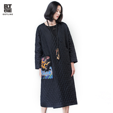 Outline Women Winter Down Vintage Casual Dragon Embroidery Trench Cotton Linen Full Sleeve Button Long Loose Thick Coat L164Y023