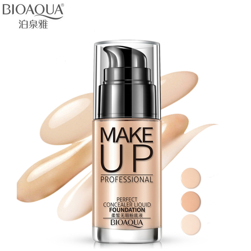 BIOAQUA Brand Face Base Liquid Foundation Makeup Primer Concealer Waterproof Brighten Whitening Long Lasting BB Cream Cosmetics o two o face makeup base face liquid foundation bb cream concealer foundation primer easy to wear 30ml