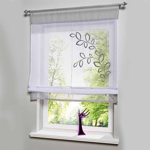 Hot S Embroider Voile Curtains Short For Kitchen Window Cortinas Roman Blinds Roller