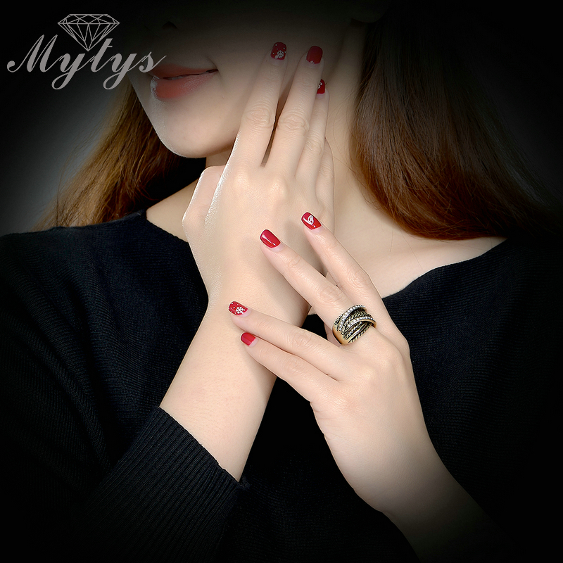 Mytys Retro Old Copper Chunky Ring Line Twist Geometrisk Invisible - Märkessmycken - Foto 6