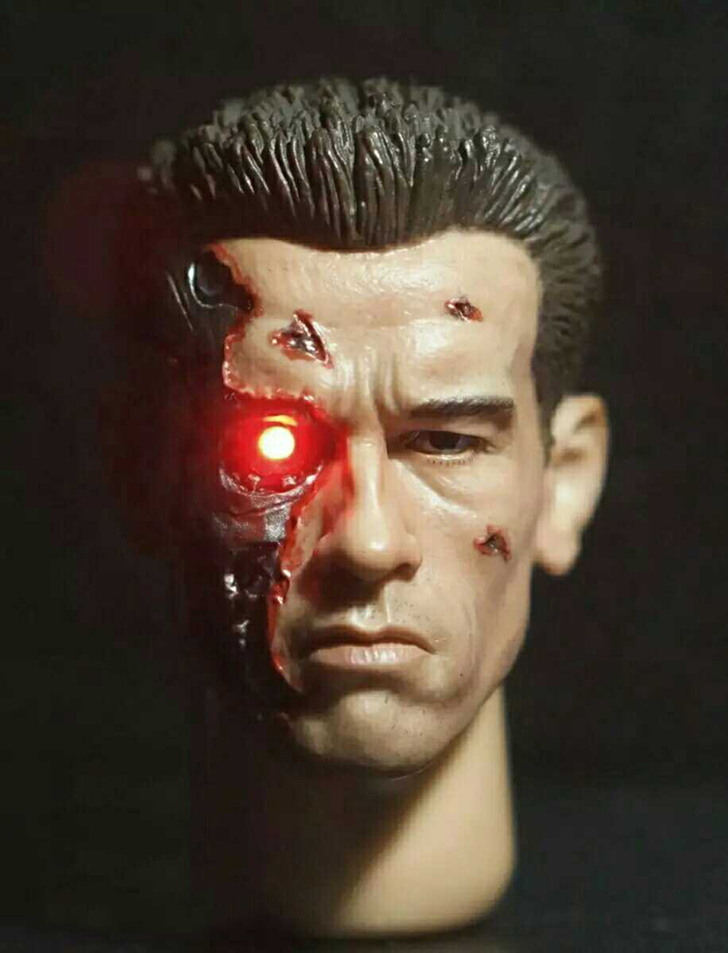 """1/6 skala mężczyzna szef Sculpt Terminator 2 T800 Arnold głowy z LED oczy wersja z obrażeniami Model dla 12 """"figurka rysunek akcesoria w Figurki i postaci od Zabawki i hobby na  Grupa 1"""
