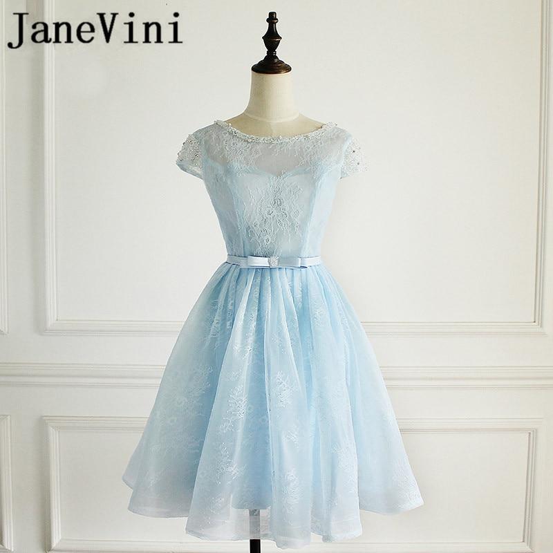 JaneVini Charming Sky Blue Short   Bridesmaid     Dresses   With Sleeves A Line Scoop Neck Beads Lace Knee Length Vestido De Festa Curto