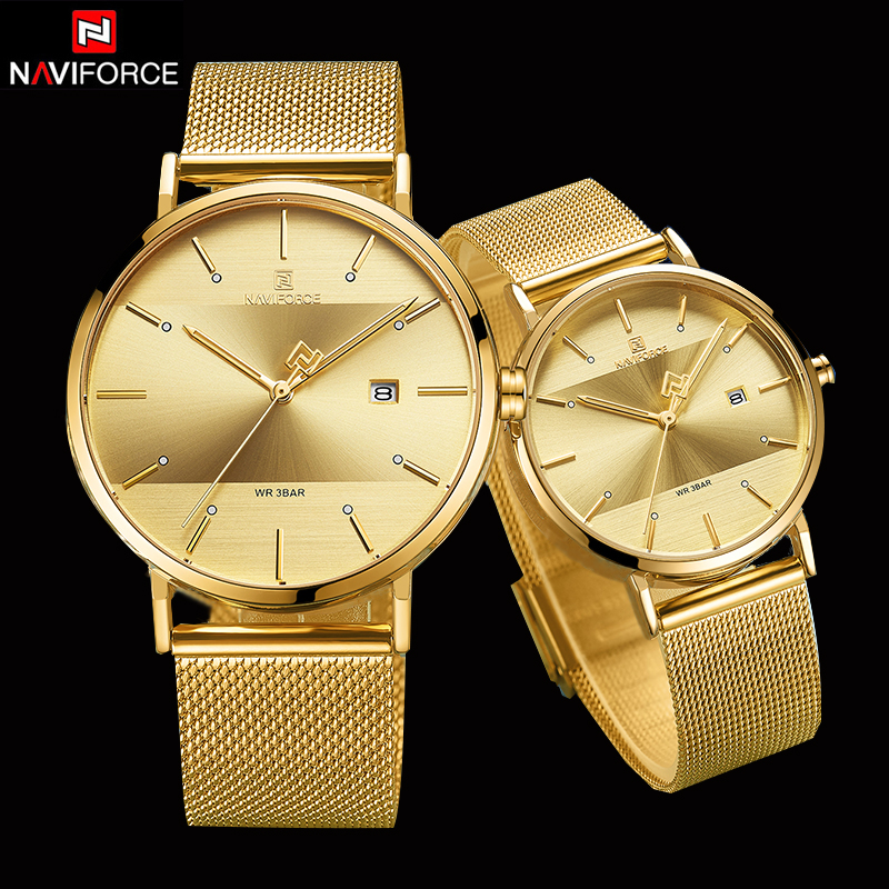 NAVIFORCE Couple Watch Luxury Quartz Mens Watch Women Simple Wristwatch Clock For Male Female Waterproof Lovers Gift Watch 2019