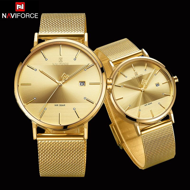 NAVIFORCE Couple Watch Luxury Quartz Mens Watch Women Simple Wristwatch Clock For Male Female Waterproof Lovers Gift Watch 2019