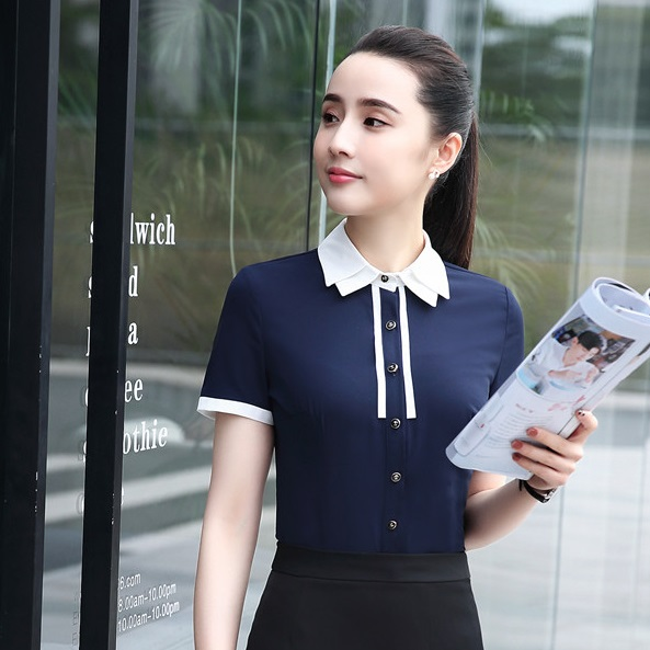 4620d377eba79b Summer Formal Women Blouses   Shirts Short Sleeve Navy blue Work Wear  Clothes Ladies Office Uniform Blouses and Tops-in Blouses   Shirts from  Women s ...