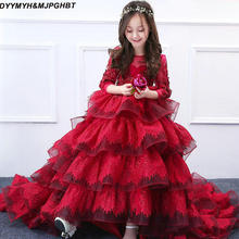 DYYMYH&MJPGHBT Long Sleeve Girls Pageant Dresses Gown