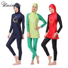 Muslim Swimwears Girls Moon Stars Printed Swimwear Distinction Colour Swimsuits Hooded Hijab Maillot De Bain Femme Musulman