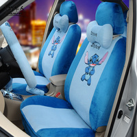 MUNIUREN 18pcs Cute Cartoon Car Seat Covers for Women Car Styling Short Plush Universal Auto Seat Cover Blue