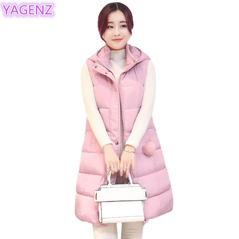 YAGENZ Plus velikosti Dámská vesta Zimní dámské oblečení Dlouhá sekce Bavlněná kšiltovka Bunda Móda Ženy Udržujte Teplá vesta s kapucí 283
