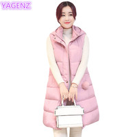 YAGENZ Plus size Womens Vest Winter Womens Clothing Long Section Cotton Hairball Jacket Fashion Women Keep Warm Hooded Vest 283