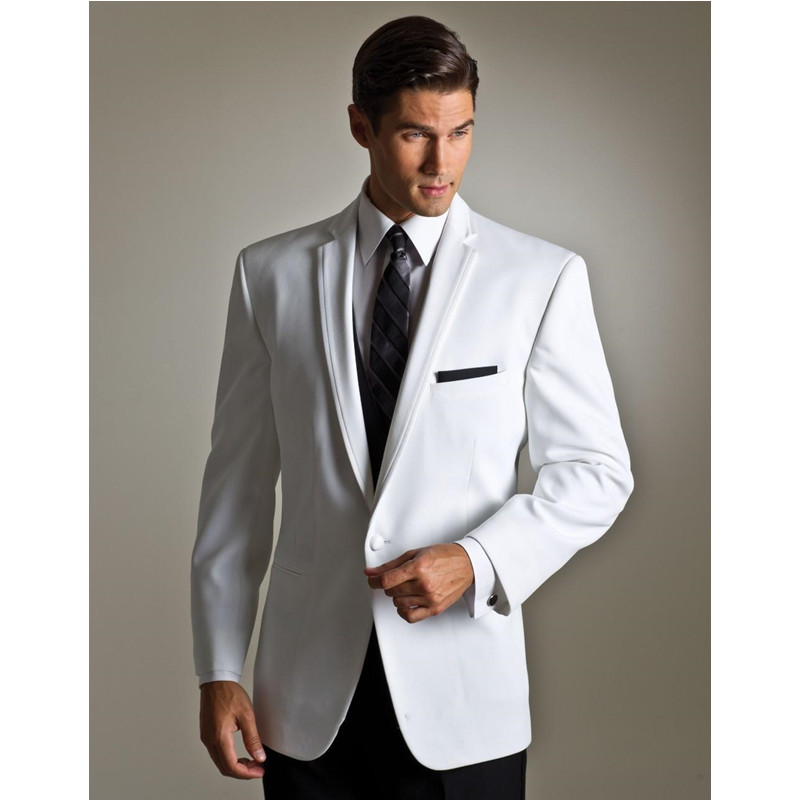 Groom Tuxedos White Ivory Wedding Suits For Men Notched Lapel Mens Suits One Button Groomsmen Suit