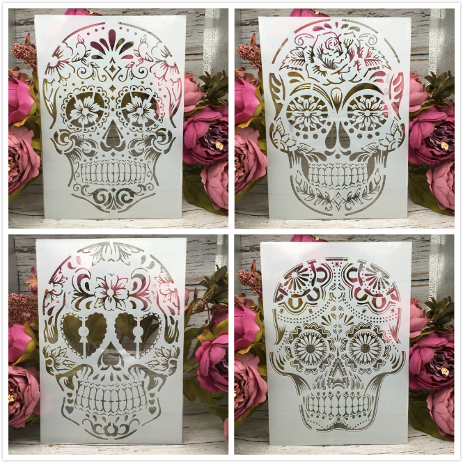 4Pcs/Lot A4 Skull Skeleton Ghost DIY Layering Stencils Painting Scrapbook Coloring Embossing Album Decorative Card Template