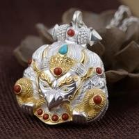 S925 silver pendants wholesale Thai silver antique style dapeng bird gold wing ga black male money box