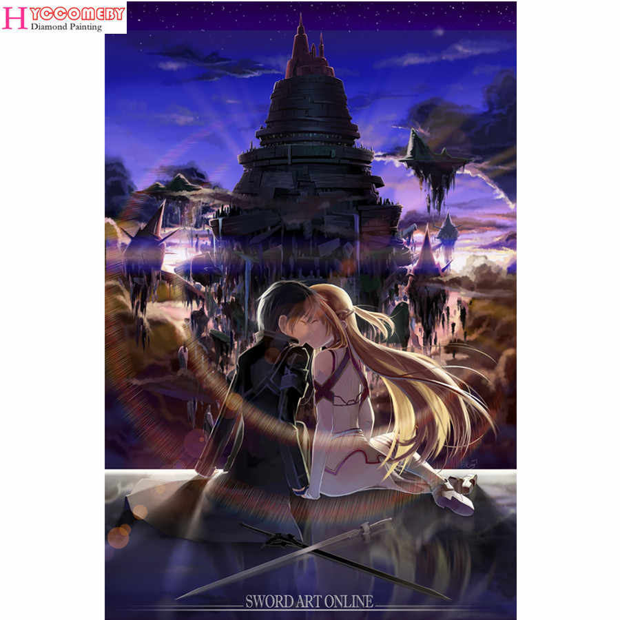 5D Square Diamond Lukisan Jepang Anime Sword Art Online DIY Penuh Diamond Bordir Mosaik Diamond Cross Stitch Dekorasi Hadiah