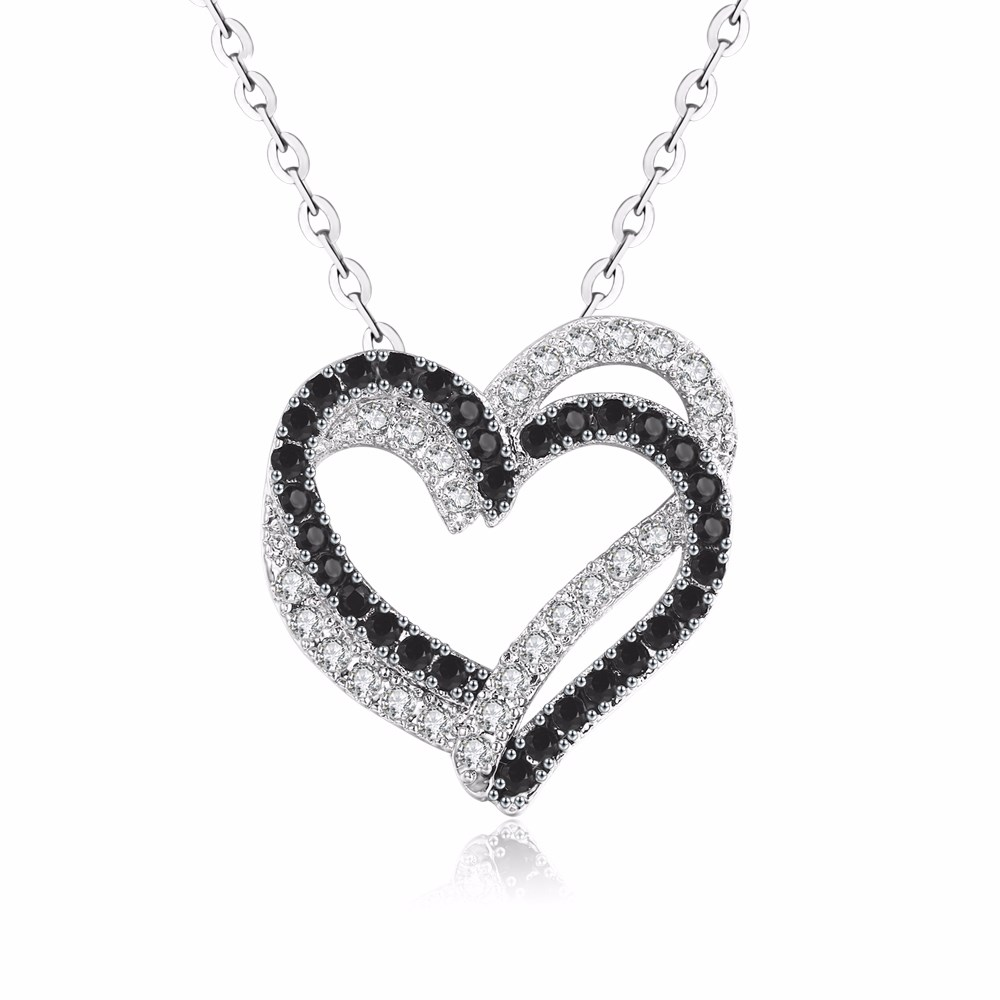 e48225ace Silver Necklace Fine Genuine 100% 925 Sterling Silver Necklace Women  Jewelry Heart Black&White Stone Pendants P107-in Pendants from Jewelry &  Accessories