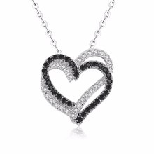 Silver Necklace Fine Genuine 100% 925 Sterling Women Jewelry Heart Black&White Stone Pendants P107