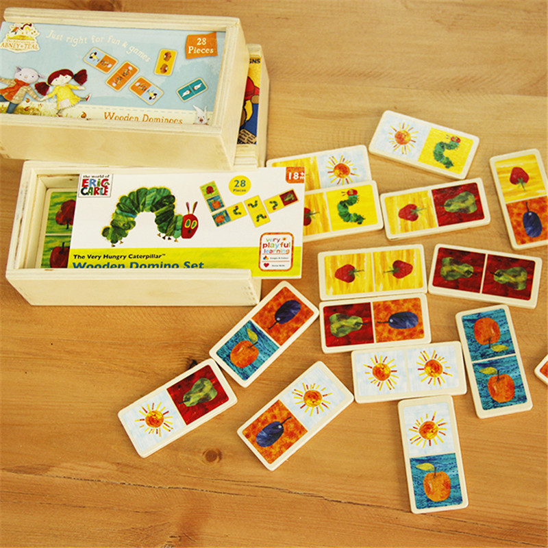 The Very Hungry Caterpillar Domino Set Wooden Classic Desktop Dominoes Game Kids Blocks Educational Toy cards and book funny fishing game family child interactive fun desktop toy