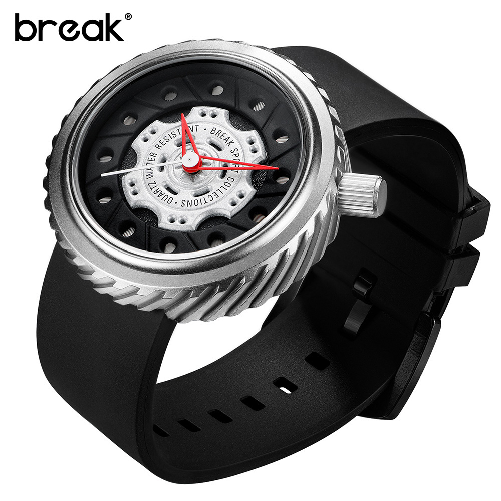 BREAK Clock Male Luxury Brand Fashion Casual Watch Men Rubber Creative Military Sport Wrist Quartz Watch Gift Relogio Masculino genuine curren brand design leather military men cool fashion clock sport male gift wrist quartz business water resistant watch