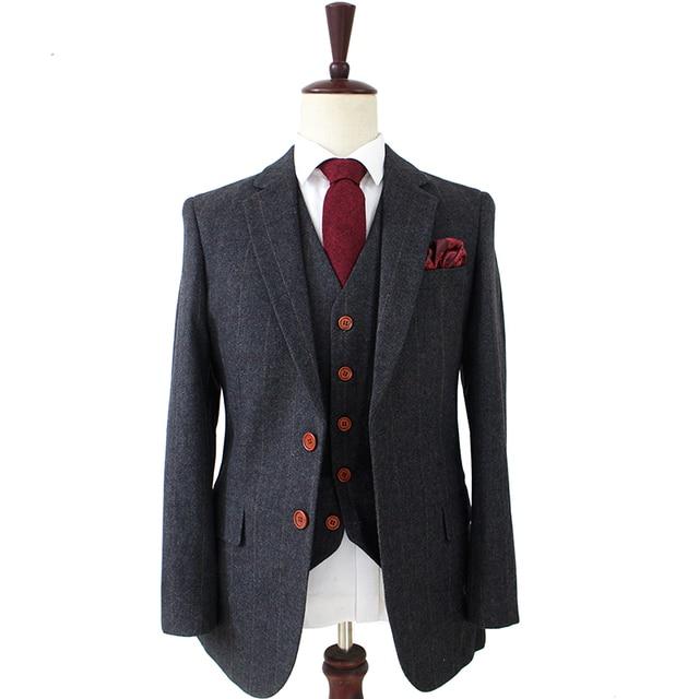 Lana gris oscuro espiga Tweed Sastre slim fit trajes de boda para hombres  Retro Caballero estilo 81cafc97520