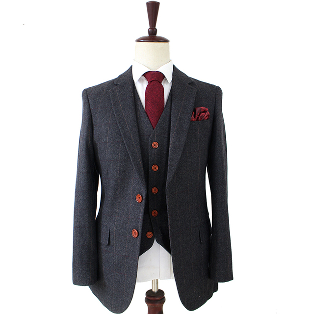 Wool Dark Grey Herringbone Tweed Tailor Slim Fit Wedding Suits For