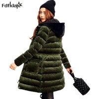 Fdfklak Высокое качество зимняя куртка Для женщин бархат с хлопковой подкладкой Для женщин s куртка с капюшоном длинное пальто женские толстые