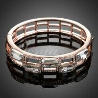 Jenia hermosa moda color rosa en oro de austria crystal bangle pulseras de la joyería al por mayor para las mujeres xb012