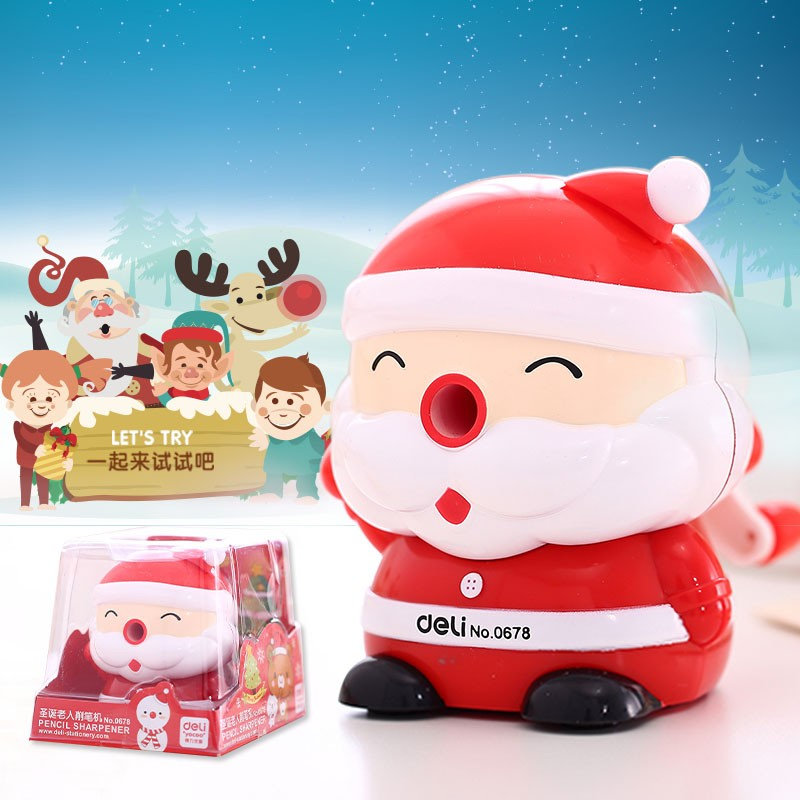 Deli santa manual Pencil Sharpener Office Stationery Sharpener School Mechanical Pencil Sharpener Christmas Gift for Child deli cute stationery thomas mechanical pencil sharpener train friends give child a learning gift good quality school stationery