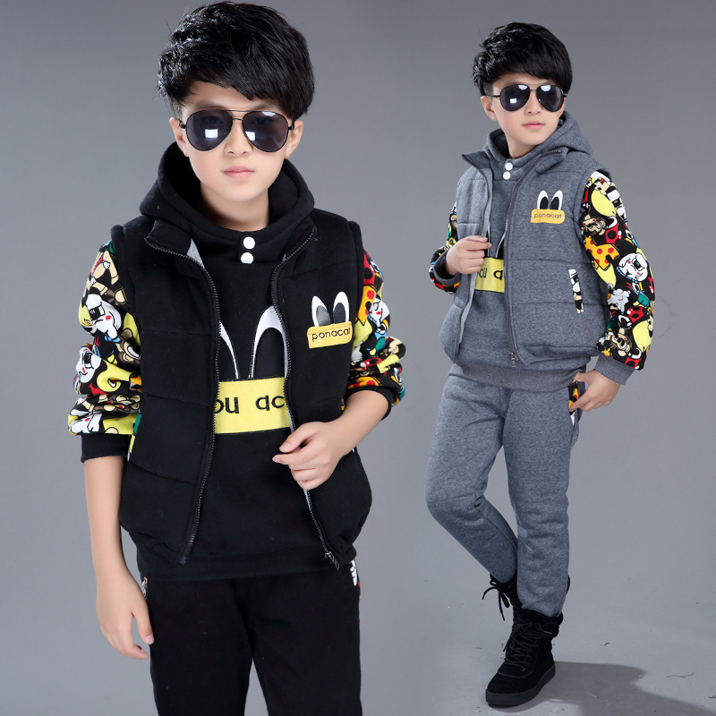 Winter Warm Windproof Kids Clothes Set Baby Boys Girls 3-Piece Clothing Sporty Children Outerwear For 3-12 Years Old plamtee baby boys girls winter jacket 2017 brand candy color hooded warm coat zipper solid windproof outerwear for kids clothing