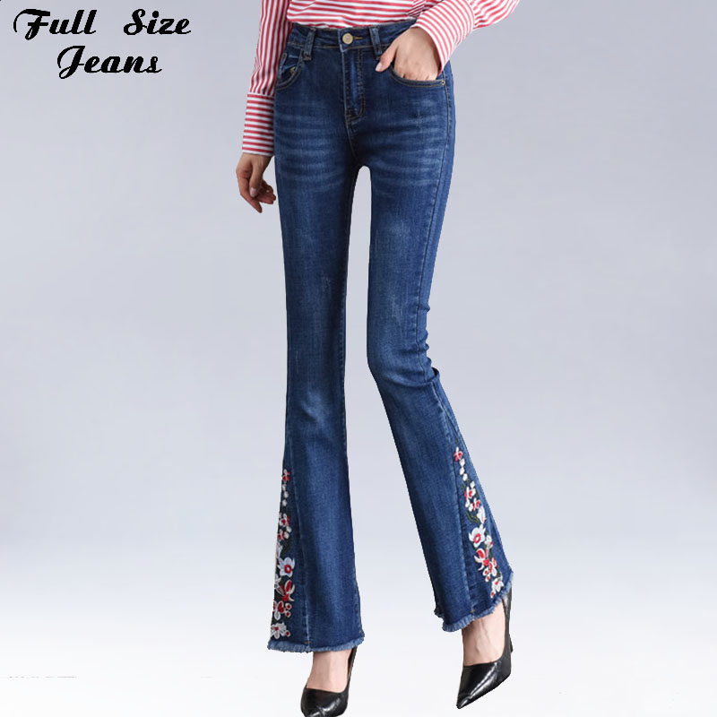 Plus Size Floral Embroidered Flare Jeans 3Xl 4Xl 7Xl Women Boot Cut Trousers Stretch Skinny Bell Bottom Denim Pants