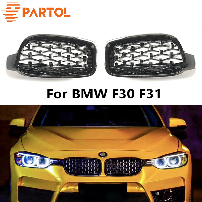 2pcs 8-Bar Thicken Sport Style Glossy Black Front Grill Kidney Grilles for F30 F31
