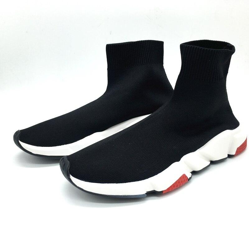 Entraîneur Bout Rond Red Marche Sneakers black black Femmes Chaussures Le Décontracté Bottes Printemps Chaussette Plat Solide Black white pink Marque De Slip Course En Blue Sport Élastique Tricot sur 3KT1clFJ