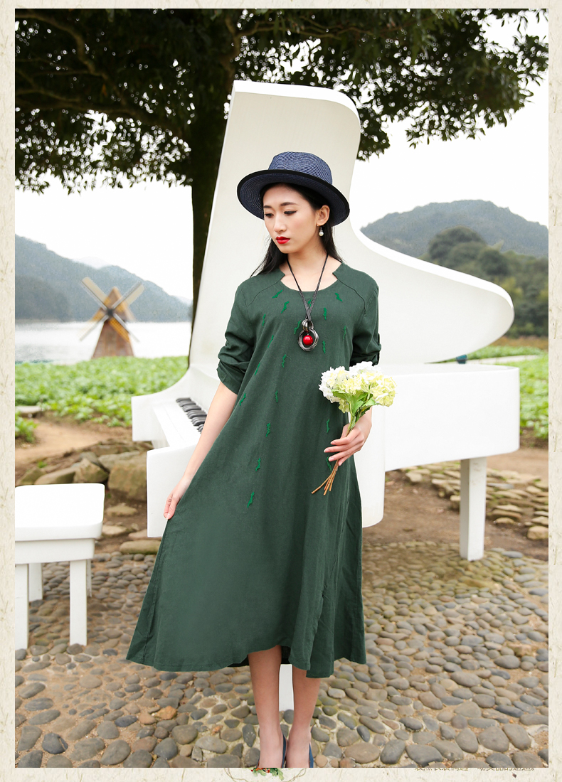 Spring Summer women literary Solid Color Plus size Casual Cotton Ankle-Length Dresses Green vestidos Maxi Dress