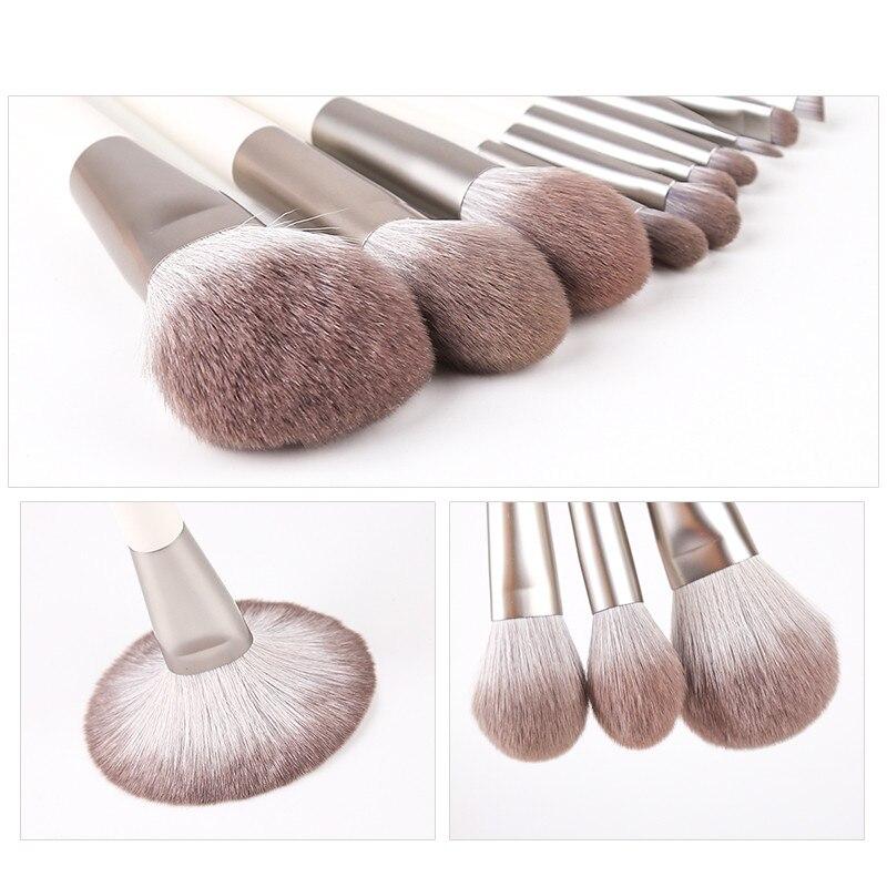 Image 2 - Zoreya Brand Soft Synthetic Hair Eye Shadow Brush White Handle Blending Blush Lip Powder Highlighter Makeup Brushes Set 10pcsEye Shadow Applicator   -