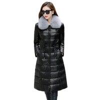 Кожаная куртка женская 2018 зимняя куртка женская натуральная овечья кожа пальто действительно Лисий мех воротник пуховик теплая женская ко